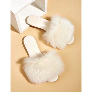 NIB Shein Faux Fur Slide Sandals